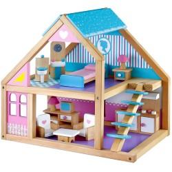 Mentari Drevený domček pre bábiky - modro-fialový