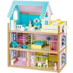 Drevený domček pre bábiky - veľký modro-fialový s terasou a výťahom
