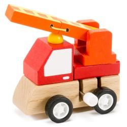 IMP-EX Drevené autíčko (naťahovacie) - hasičské