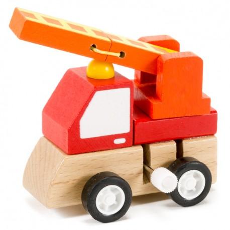Drevené autíčko na zotrvačník - hasičské
