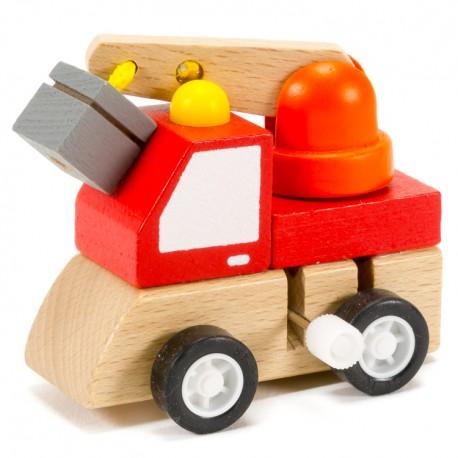 Drevené autíčko na zotrvačník - so žeriavom