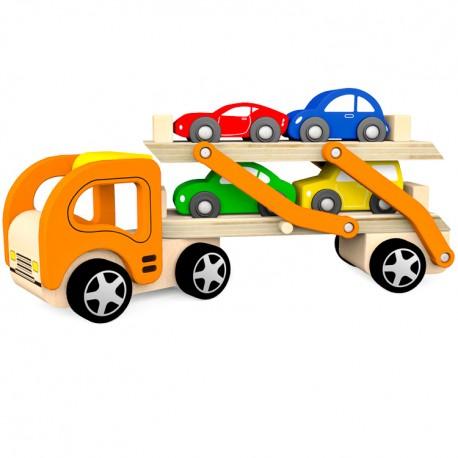 VIGA Drevené auto - kamión na prepravu áut