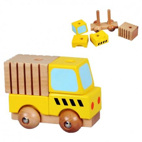 Drevené skladacie autíčko - žlté