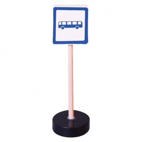 Drevená dopravná značka - autobusová zastávka