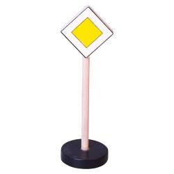 Drevená dopravná značka - hlavná cesta