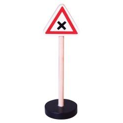 Drevená dopravná značka - križovatka