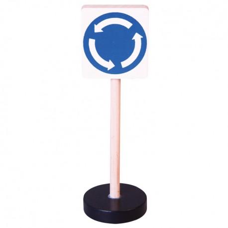 Drevená dopravná značka - kruhový objazd