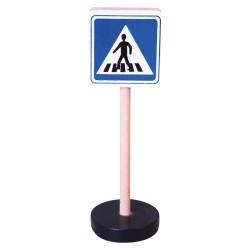 Drevená dopravná značka - prechod pre chodcov