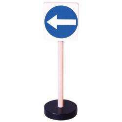 Drevená dopravná značka - prikázaný smer jazdy vľavo