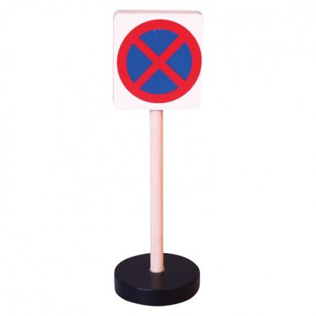 Drevená dopravná značka - zákaz zastavenia