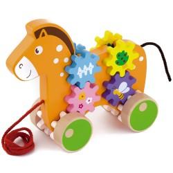 VIGA Drevená hračka na ťahanie - koník s ozubenými kolieskami