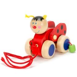 Viga Drevená hračka na ťahanie - lienka