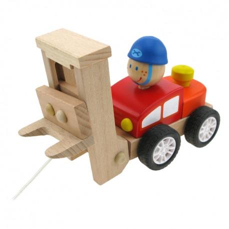 Drevené autíčko na ťahanie - zdvižný vozík