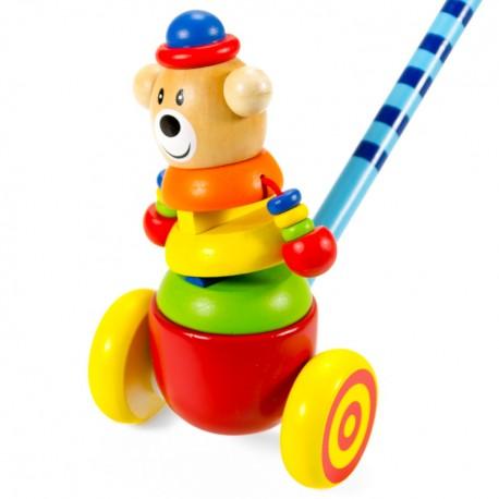 VIGA Drevená hračka na tlačenie - Macko