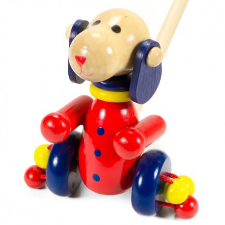 VIGA Drevená hračka na tlačenie - Psík