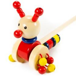 VIGA Drevená hračka na tlačenie - Slimák