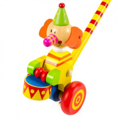 VIGA Drevená hračka na tlačenie - Sloník s bubnom