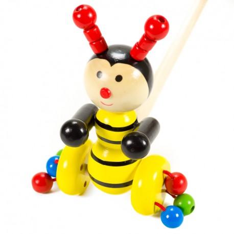 IMP-EX Drevená hračka na tlačenie - Včielka