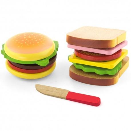 VIGA Drevený hamburger a sendvič na krájanie