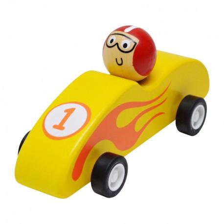 Drevené autíčko na zotrvačník - Formula žltá