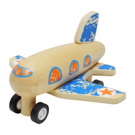 IMP-EX Drevené lietadlo na zotrvačník - modré