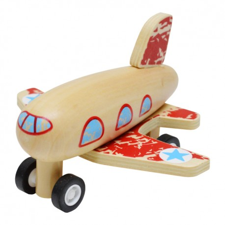 Drevené lietadlo na zotrvačník - červené