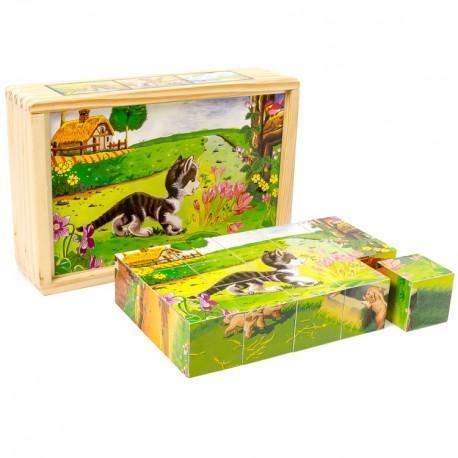 VIGA Drevené obrázkové kocky - Mačička