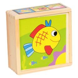 IMP-EX Drevené obrázkové kocky malé - Rybka