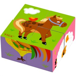 VIGA Drevené obrázkové kocky 4 kusové - koník