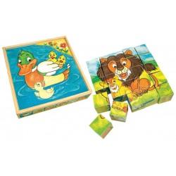 BINO Drevené obrázkové kocky veľké - Kačka