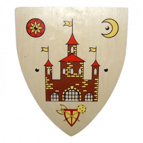 Drevený rytiersky štít s hradom