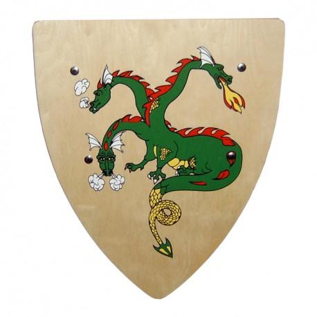 Drevený rytiersky štít s drakom