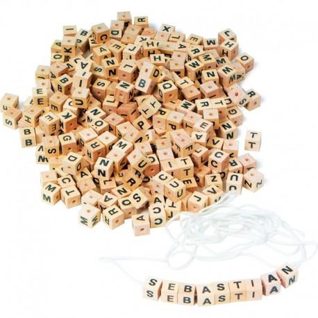 Legler Drevené korálky - kocky (hranaté) s písmenkami 300 ks - 0,8 cm-ové