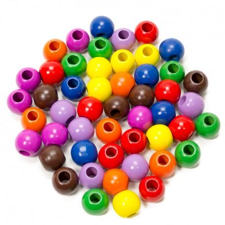 IMP-EX Drevené farebné korálky s Ø 20 mm - 50 kusov