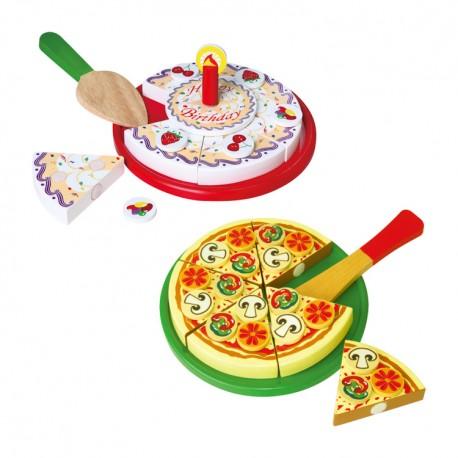 VIGA Drevené krájanie - torta a pizza v papierovej krabici - set
