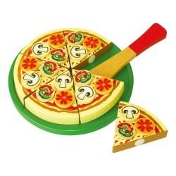 Drevené krájanie - pizza v papierovej krabici