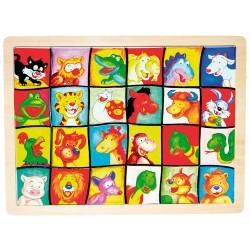 IMP-EX Drevené puzzle - hľadanie tváričiek - Zvieratká