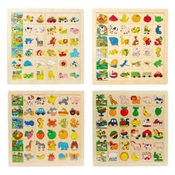 IMP-EX Drevené puzzle - Nájdi a priraď! - 4 druhy