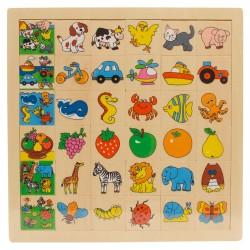 IMP-EX Drevené puzzle - Nájdi a priraď! - Zvieratká na dvore
