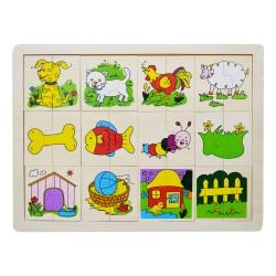IMP-EX Drevené puzzle - Nájdi druhú polovičku! - Domáce zvieratká