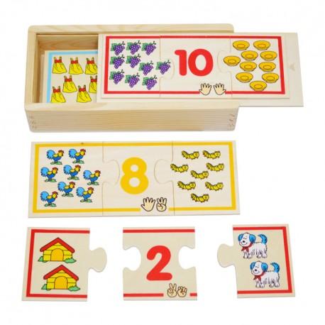 VIGA Drevené puzzle - počítanie
