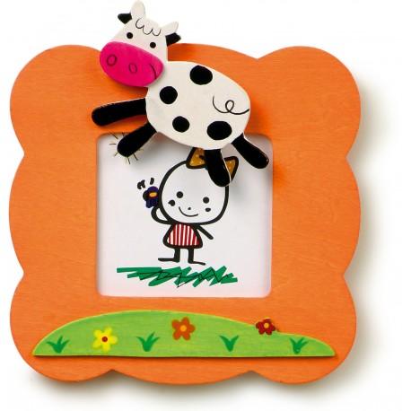 Detský drevený rámik na fotku - kravička
