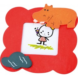 Detský drevený rámik na fotku - hrošík