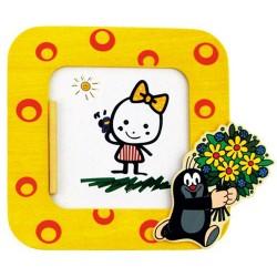 Bino detský drevený rámik na fotku - Krtko žltý