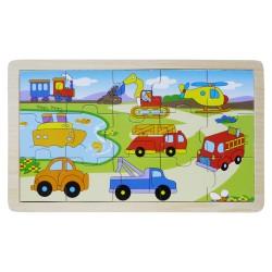IMP-EX Drevené obrázkové puzzle - 15 dielikov - Dopravné prostriedky
