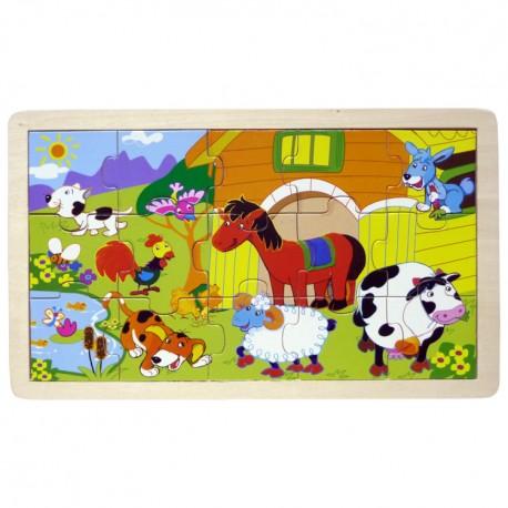 IMP-EX Drevené obrázkové puzzle - 15 dielikov - Zvieratká na farme