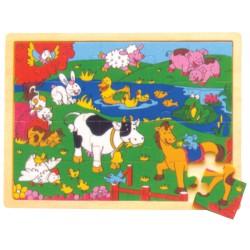 IMP-EX Drevené obrázkové puzzle - 20 dielov -Zvieratká na farme
