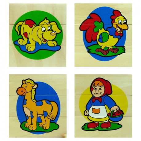 VIGA Drevené obrázkové puzzle - 3 dieliky - Psík a iné