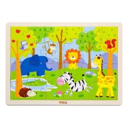 VIGA Drevené puzzle - 24 dielikov - Divoké zvieratká