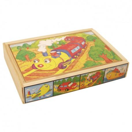 VIGA Drevené puzzle v krabici - Dopravné prostriedky